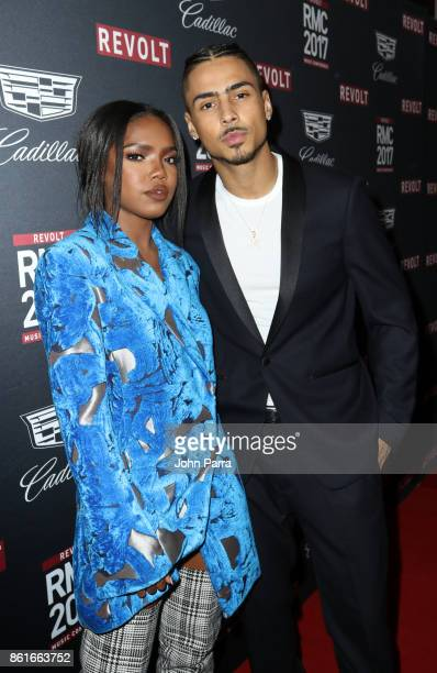 Ryan Destiny and Quincy Brown arrive at REVOLT Music Conference Gala Dinner Award Presentation at Eden Roc Hotel on October 14 2017 in Miami Beach...