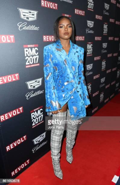 Ryan Destiny arrives at REVOLT Music Conference Gala Dinner Award Presentation at Eden Roc Hotel on October 14 2017 in Miami Beach Florida