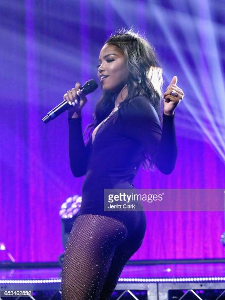 Ryan Destiny performs during the Honda Stage Celebrates The Music Of FOX's 'Star' event at iHeartRadio Theater on March 14 2017 in Burbank California