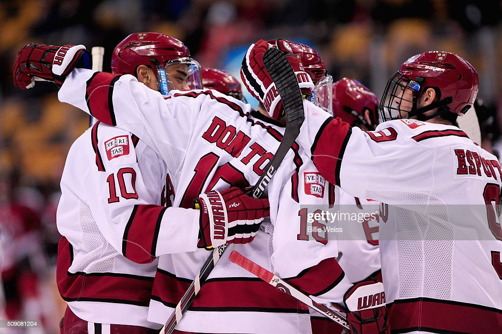 Ryan Donato #16 of Harvard University reacts after scoring a goal during the second period of the Beanpot Tournament consolation game against Northeastern University at TD Garden on February 8, 2016 in Boston, Massachusetts.