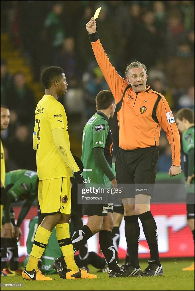 Ryan Donk of Club Brugge KV is shown a yellow card during the Jupiler League match between Cercle Brugge and Club Brugge on February 28, 2013 in Brugge, Belgium.