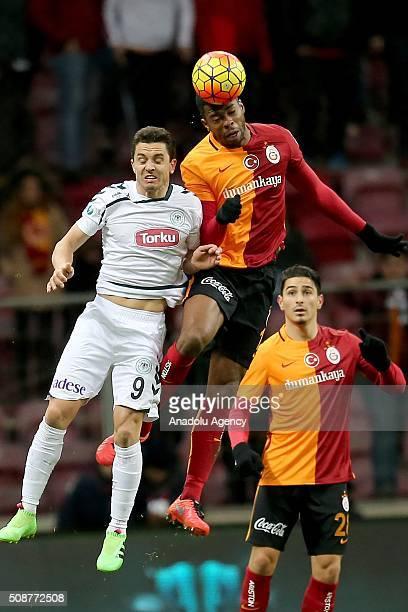 Ryan Donk of Galatasaray in action against Dimitar Rangelov of Torku Konyaspor during the Turkish Spor Toto Super Lig football match between...