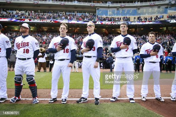 Ryan Doumit Josh Willingham Justin Morneau Joe Mauer and Jamey Carroll of the Minnesota Twins stand for the anthem before the game with the Los...