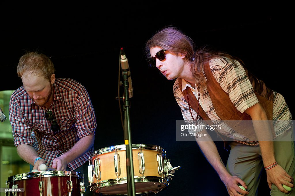 Ryan Drabble and Paul Ross of Slow Down, Molasses perform on stage at the Dr Martins street gig airstream trailor during The Great Escape Festival on May 10, 2012 in Brighton, United Kingdom.