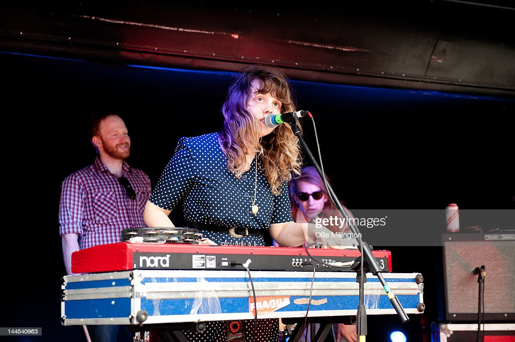 Ryan Drabble, Jeanette Stewart and Paul Ross of Slow Down, Molasses perform on stage at the Dr Martins street gig airstream trailor during The Great Escape Festival on May 10, 2012 in Brighton, United Kingdom.