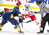 Ryan Duncan of Red Bull Salzburg during the Champions Hockey League group stage game between HV71 Jonkoping and Red Bull Salzburg on August 22 2015...
