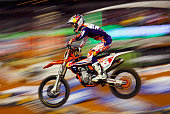 Ryan Dungey rider of the KTM 450 SXF leads the field during the 450SX Main during the Monster Energy AMA Supercross at ATT Stadium on February 14...