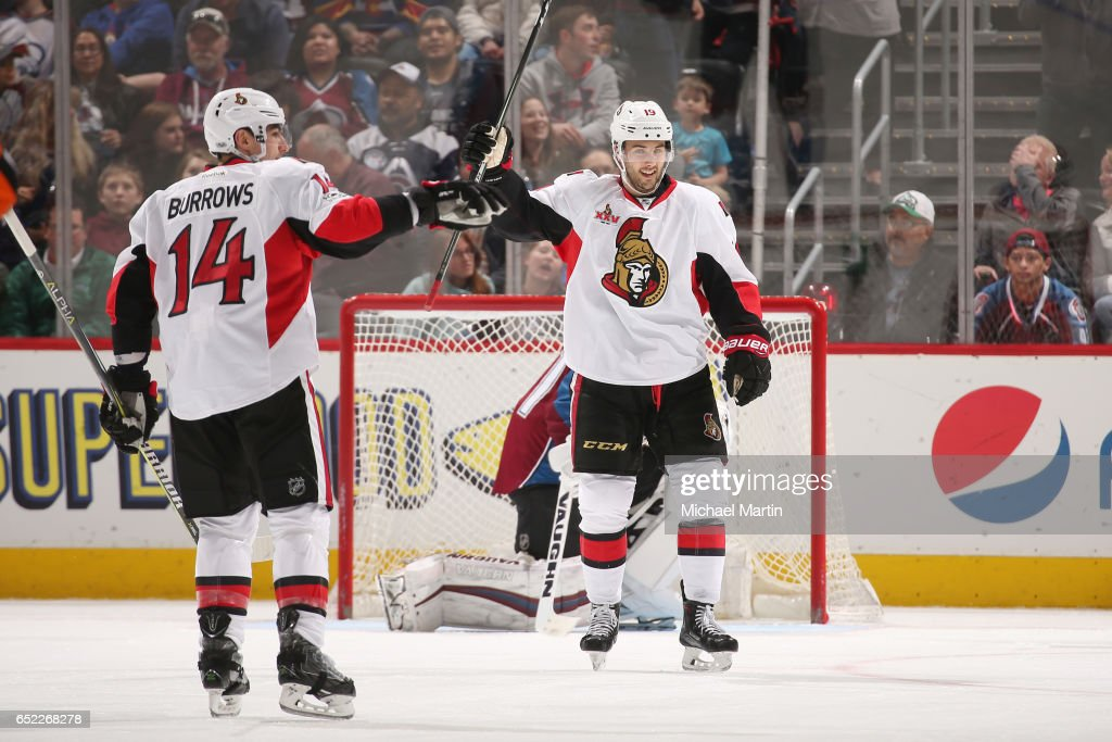 Ryan Dzingel #18 of the Ottawa Senators celebrates after scoring a goal against the Colorado Avalanche at the Pepsi Center on March 11, 2017 in Denver, Colorado. The Senators defeated the Avalanche 4-2.