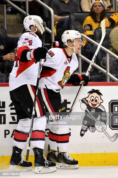 Ryan Dzingel of the Ottawa Senators celebrates after scoring a goal against Matt Murray of the Pittsburgh Penguins during the third period in Game...