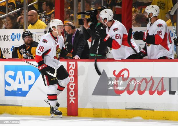 Ryan Dzingel of the Ottawa Senators celebrates his third period goal against the Pittsburgh Penguins in Game Seven of the Eastern Conference Final...