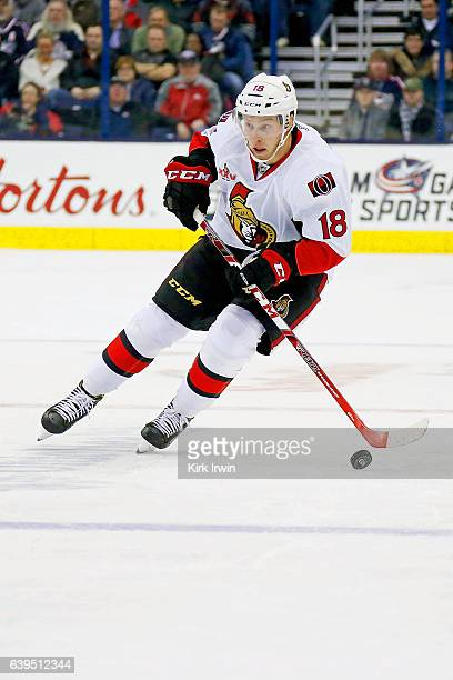 Ryan Dzingel of the Ottawa Senators controls the puck during the game against the Columbus Blue Jackets on January 19 2017 at Nationwide Arena in...