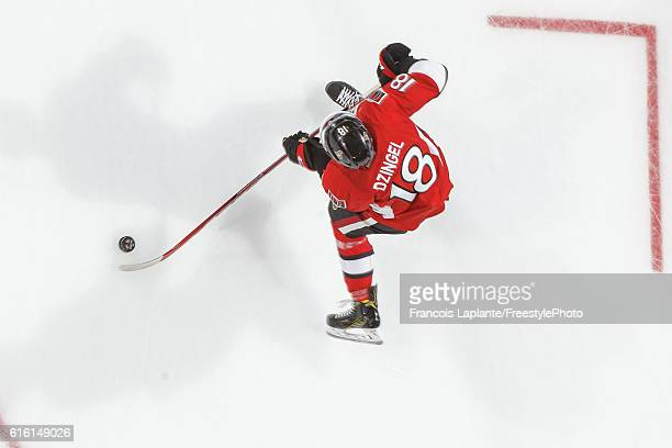 Ryan Dzingel of the Ottawa Senators controls the puck during warmup prior to an NHL game against the Arizona Coyotes at Canadian Tire Centre on...