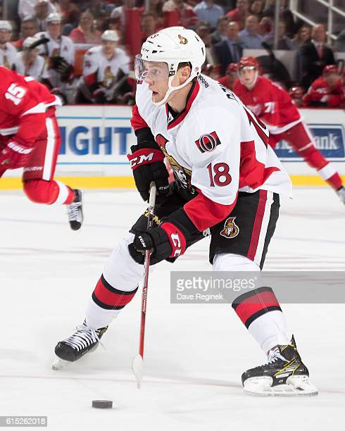 Ryan Dzingel of the Ottawa Senators looks to shoot the puck during an NHL game against the Detroit Red Wings at Joe Louis Arena on October 17 2016 in...