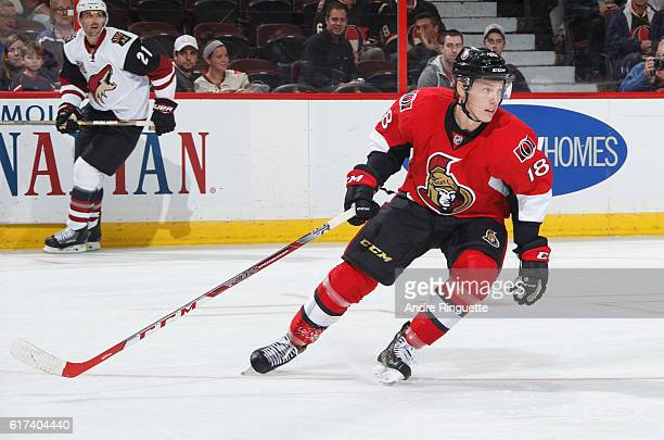 Ryan Dzingel of the Ottawa Senators skates against the Arizona Coyotes at Canadian Tire Centre on October 18 2016 in Ottawa Ontario Canada