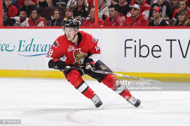 Ryan Dzingel of the Ottawa Senators skates against the Boston Bruins in Game Five of the Eastern Conference First Round during the 2017 NHL Stanley...