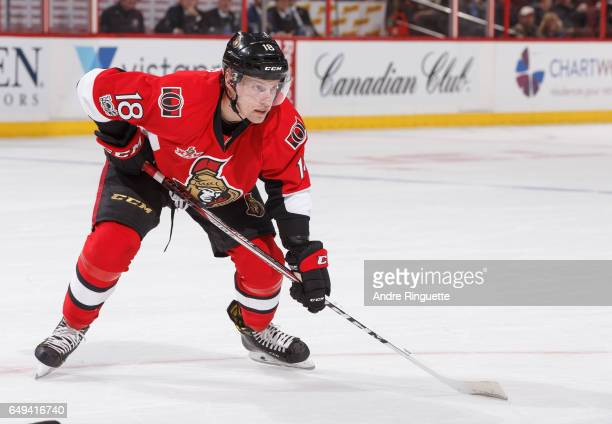 Ryan Dzingel of the Ottawa Senators skates against the Columbus Blue Jackets at Canadian Tire Centre on March 4 2017 in Ottawa Ontario Canada