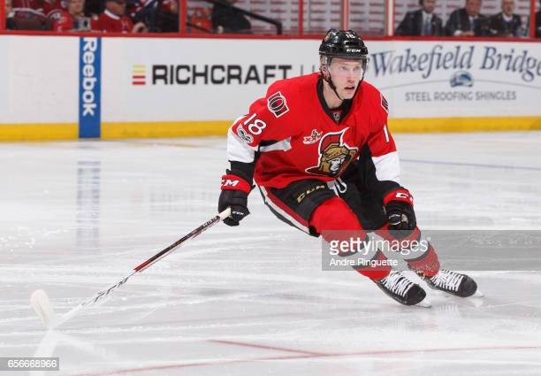 Ryan Dzingel of the Ottawa Senators skates against the Montreal Canadiens at Canadian Tire Centre on March 18 2017 in Ottawa Ontario Canada