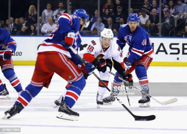 Ryan Dzingel of the Ottawa Senators skates against the New York Rangers in Game Three of the Eastern Conference Second Round during the 2017 NHL...