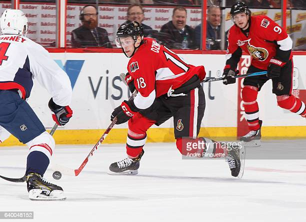 Ryan Dzingel of the Ottawa Senators skates against the Washington Capitals at Canadian Tire Centre on January 24 2017 in Ottawa Ontario Canada