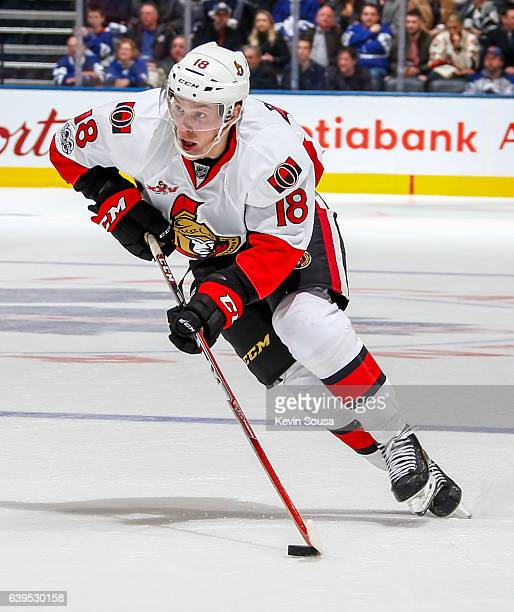 Ryan Dzingel of the Ottawa Senators skates with the puck against the Toronto Maple Leafs during the second period at the Air Canada Centre on January...