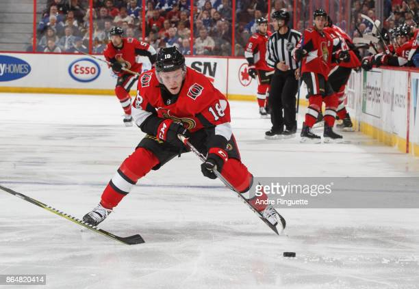 Ryan Dzingel of the Ottawa Senators stickhandles the puck against the Toronto Maple Leafs at Canadian Tire Centre on October 21 2017 in Ottawa...