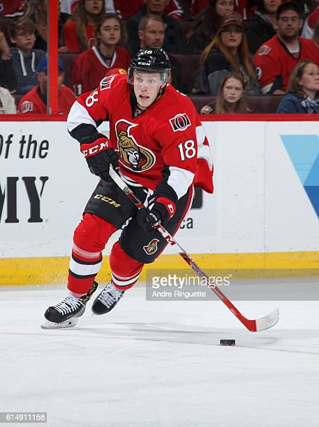 Ryan Dzingel of the Ottawa Senators stickhandles the puck to the net on a scoring chance leading to his first period goal against the Montreal...