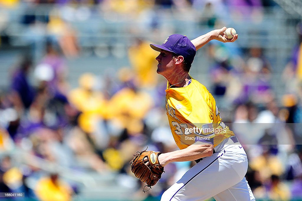 Ryan Eades #37 of the LSU Tigers throws a pitch against the Florida Gators during a game at Alex Box Stadium on May 4, 2013 in Baton Rouge, Louisiana.