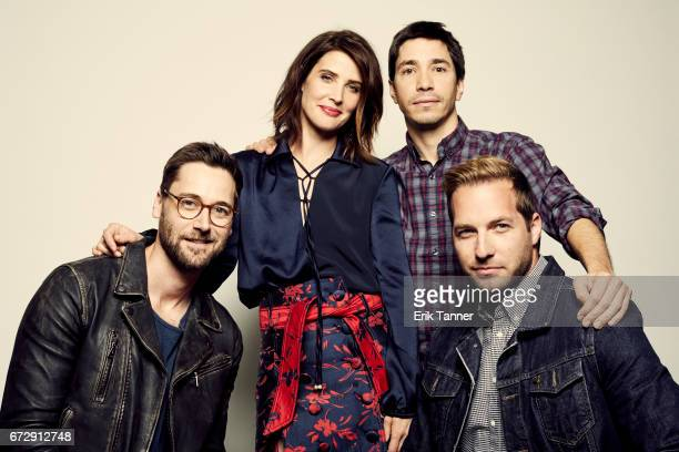 Ryan Eggold Cobie Smulders Justin Long and Ryan Hansen from 'Literally Right Before Aaron' pose at the 2017 Tribeca Film Festival portrait studio on...
