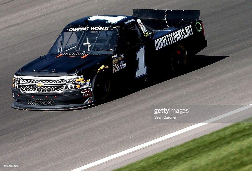 Ryan Ellis, driver of the #1 CorbetteParts.net/ZAK Products Chevrolet, drives during qualifying for the NASCAR Camping World Truck Series Toyota Tundra 250 at Kansas Speedway on May 6, 2016 in Kansas City, Kansas.