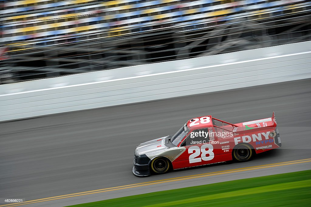 Ryan Ellis drives the #28 FDNY Chevrolet during NASCAR Preseason Thunder at Daytona International Speedway on January 14, 2014 in Daytona Beach, Florida.