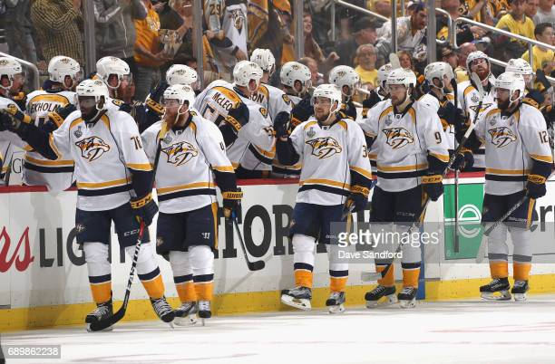 Ryan Ellis of the Nashville Predators and his teammates celebrate after his second period goal in Game One of the 2017 NHL Stanley Cup Final against...
