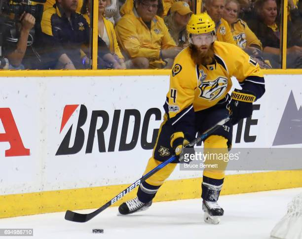 Ryan Ellis of the Nashville Predators carries the puck against the Pittsburgh Penguins during the first period in Game Six of the 2017 NHL Stanley...