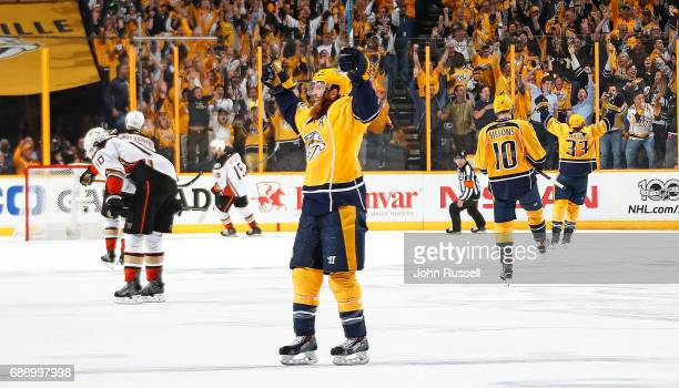 Ryan Ellis of the Nashville Predators celebrates an empty net goal against the Anaheim Ducks in Game Six of the Western Conference Final during the...