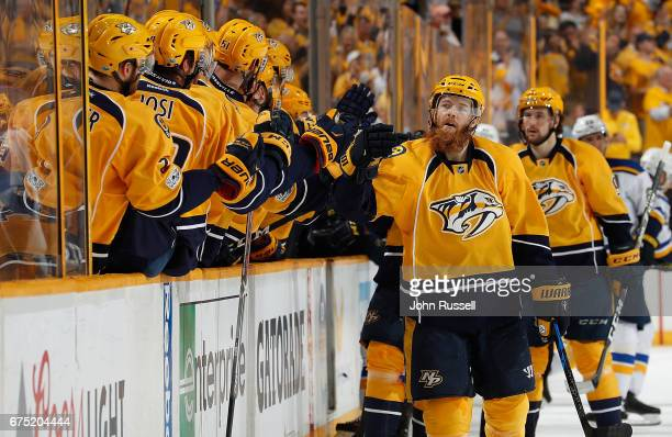 Ryan Ellis of the Nashville Predators celebrates his goal with the bench against the St Louis Blues in Game Three of the Western Conference Second...