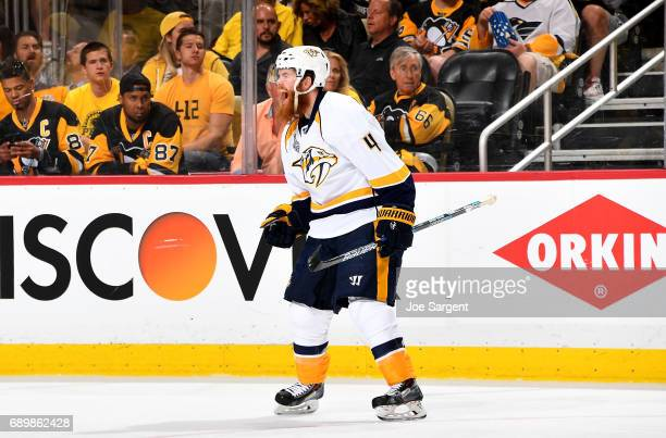 Ryan Ellis of the Nashville Predators celebrates his second period goal against the Pittsburgh Penguins in Game One of the NHL Stanley Cup Final at...