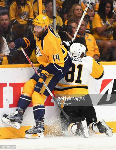 Ryan Ellis of the Nashville Predators collides with Phil Kessel of the Pittsburgh Penguins during the first period of Game Six of the 2017 NHL...