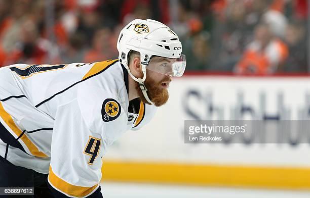 Ryan Ellis of the Nashville Predators looks on against the Philadelphia Flyers on December 19 2016 at the Wells Fargo Center in Philadelphia...