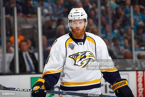 Ryan Ellis of the Nashville Predators looks on during the game against the San Jose Sharks in Game Two of the Western Conference Semifinals during...