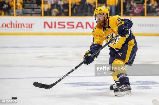 Ryan Ellis of the Nashville Predators passes the puck against the Chicago Blackhawks in Game Four of the Western Conference First Round during the...
