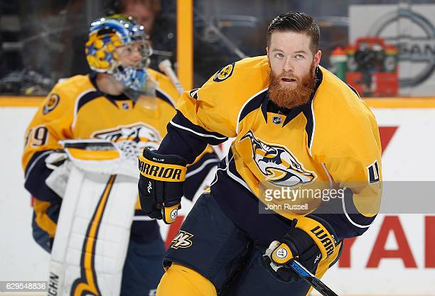 Ryan Ellis of the Nashville Predators returns the lineup as he skates in warmups prior to an NHL game against the St Louis Blues at Bridgestone Arena...