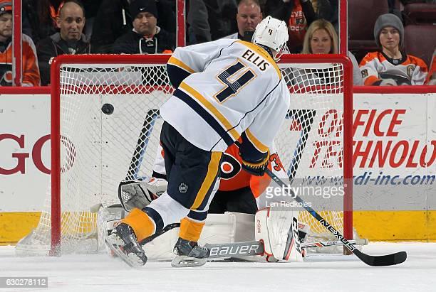 Ryan Ellis of the Nashville Predators scores a goal in the shootout against Steve Mason of the Philadelphia Flyers on December 19 2016 at the Wells...