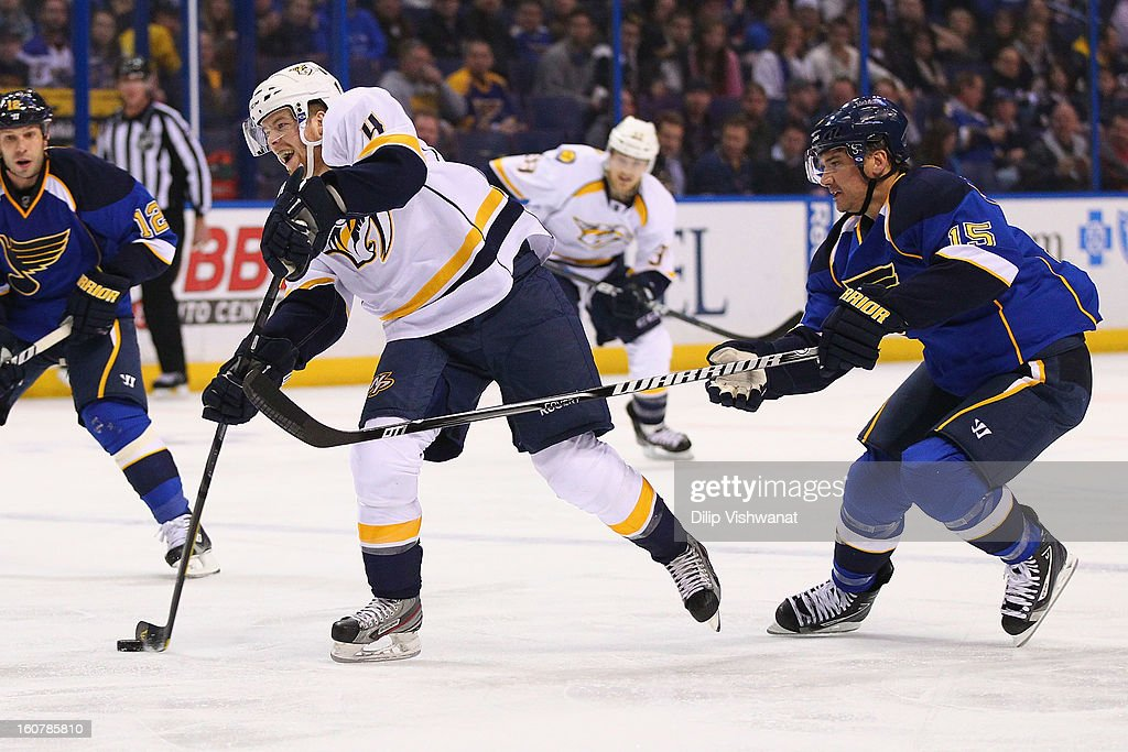 <a gi-track='captionPersonalityLinkClicked' href=/galleries/search?phrase=Ryan+Ellis+-+Ice+Hockey+Player&family=editorial&specificpeople=15459795 ng-click='$event.stopPropagation()'>Ryan Ellis</a> #4 of the Nashville Predators shoots the puck against <a gi-track='captionPersonalityLinkClicked' href=/galleries/search?phrase=Jamie+Langenbrunner&family=editorial&specificpeople=201929 ng-click='$event.stopPropagation()'>Jamie Langenbrunner</a> #15 of the St. Louis Blues at the Scottrade Center on February 5, 2013 in St. Louis, Missouri.