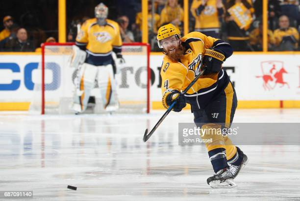 Ryan Ellis of the Nashville Predators shoots the puck against the Anaheim Ducks in Game Three of the Western Conference Final during the 2017 NHL...