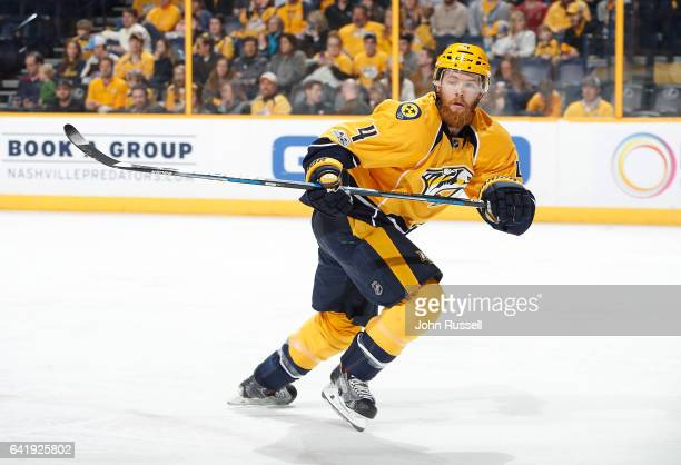Ryan Ellis of the Nashville Predators skates against the Florida Panthers during an NHL game at Bridgestone Arena on February 11 2017 in Nashville...