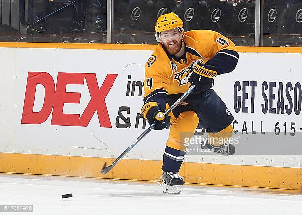 Ryan Ellis of the Nashville Predators skates against the Los Angeles Kings during an NHL game at Bridgestone Arena on February 20 2016 in Nashville...
