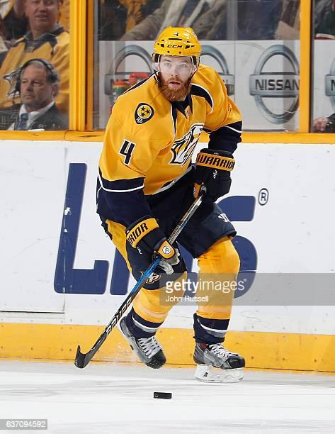 Ryan Ellis of the Nashville Predators skates against the Minnesota Wild during an NHL game at Bridgestone Arena on December 27 2016 in Nashville...