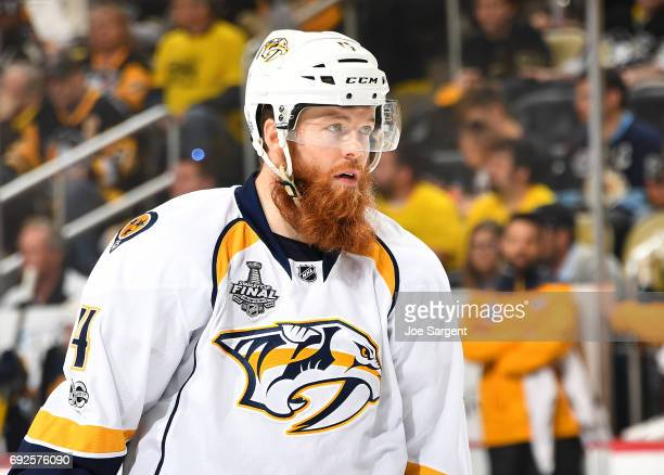 Ryan Ellis of the Nashville Predators skates against the Pittsburgh Penguins in Game Two of the 2017 NHL Stanley Cup Final at PPG Paints Arena on May...