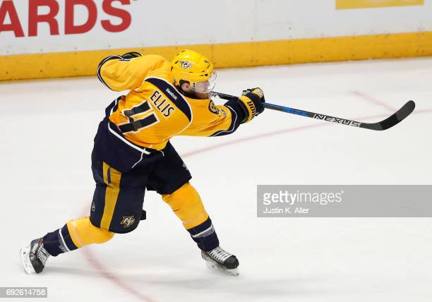 Ryan Ellis of the Nashville Predators skates against the Pittsburgh Penguins in Game Three of the 2017 NHL Stanley Cup Final at Bridgestone Arena on...