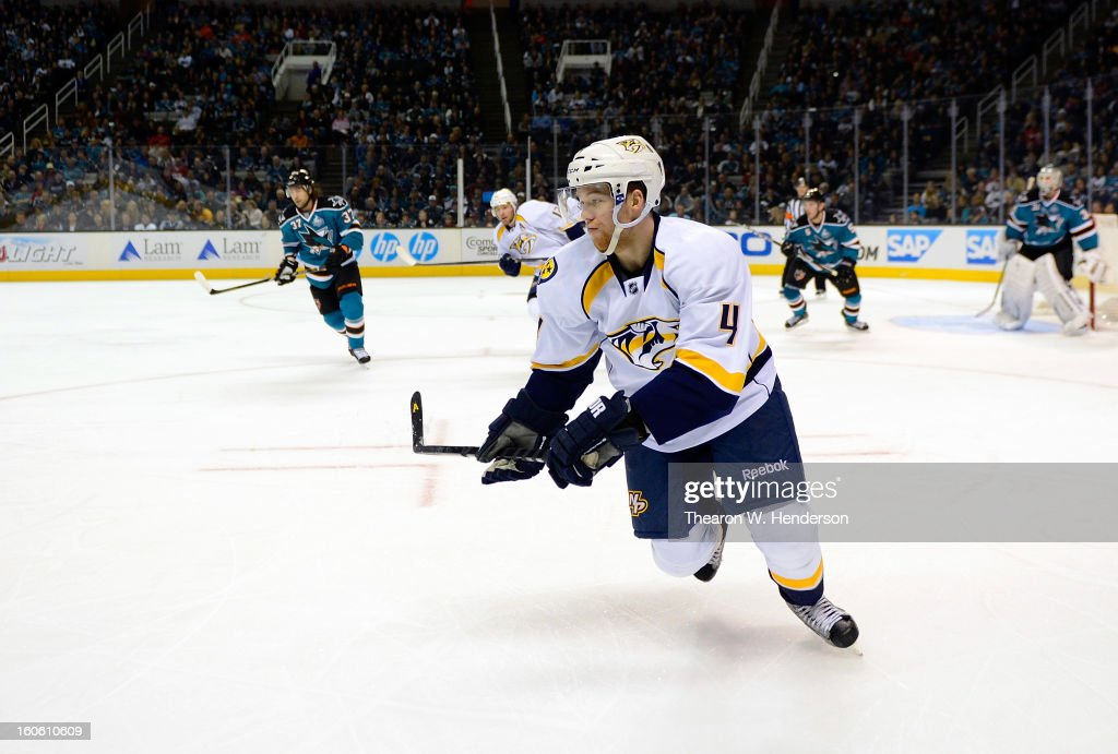 Ryan Ellis #4 of the Nashville Predators skates against the San Jose Sharks at HP Pavilion on February 2, 2013 in San Jose, California.
