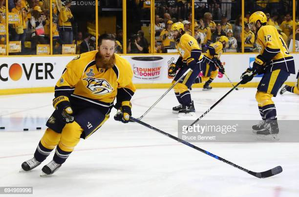 Ryan Ellis of the Nashville Predators skates during warm ups prior to Game Six of the 2017 NHL Stanley Cup Final against the Pittsburgh Penguins at...